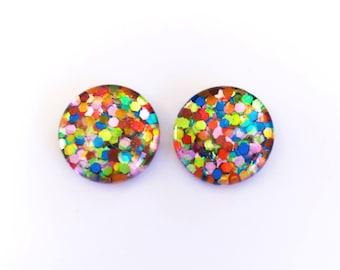 The 'Jelly Beans' Glitter Glass Earring Studs