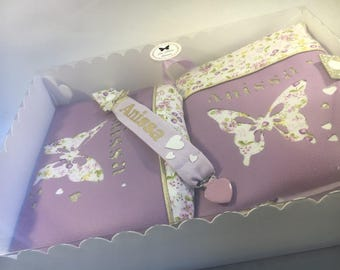 Personalized Butterfly custom purple and gold gift box