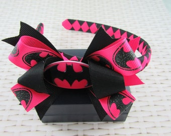 Woven Headband Inc Boutique Bow - Batgirl