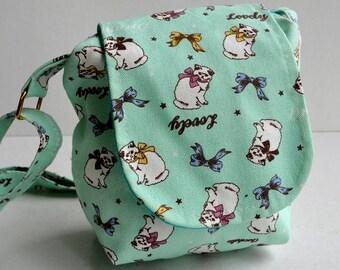 Shoulder bag , messenger bag, Cat white blue  stripe school bag, travel bag, holiday bag,shopping bag, evening bag ,holiday gift bag
