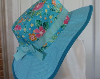 Tropical Flowers and Tourquoise Sunhat