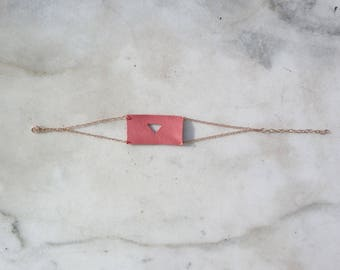 Coral leather bracelet