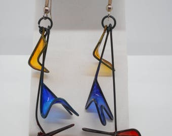 Vintage Sterling Silver Earrings with Unusual Dangles from Art Exhibit