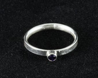 Handmade Silver Stacking Ring with Purple Cubic Zirconia