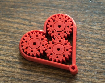 Heart with Moving Gears Keychain