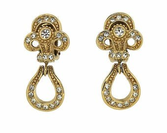 Christian Dior 1980s Rhinestone Vintage Fleur de Lys Earrings