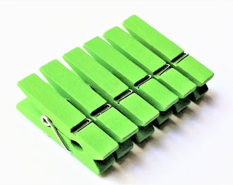 Mini Clothespin Magnets in Decorative Tin | Set of 6 | Super Strong | Fridge Magnets | Green Clothespin Magnets |