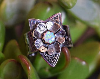 Flower Shield Sterling Silver Ring with Opal
