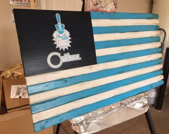 Rustic hand crafted wooden flags