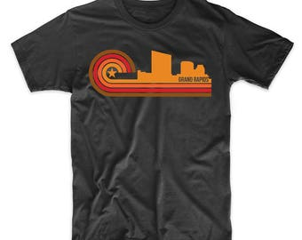 Retro Style Grand Rapids Michigan Skyline T-Shirt