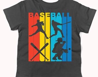 Vintage Retro 1970's Style Rainbow Baseball Infant / Toddler T-Shirt