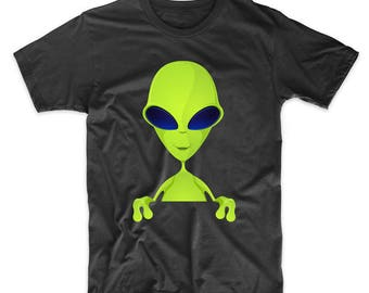 Space Alien Popping Out Funny Graphic T-Shirt