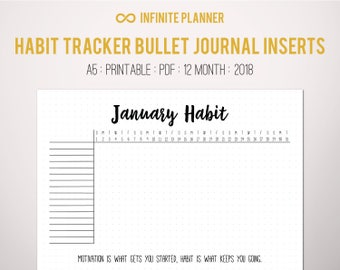 Monthly Habit Tracker Page A5 (2018) - Bullet Journal Printable PDF