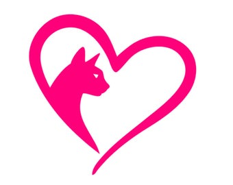 Cat lover decal - Cat decal - Cat heart decal
