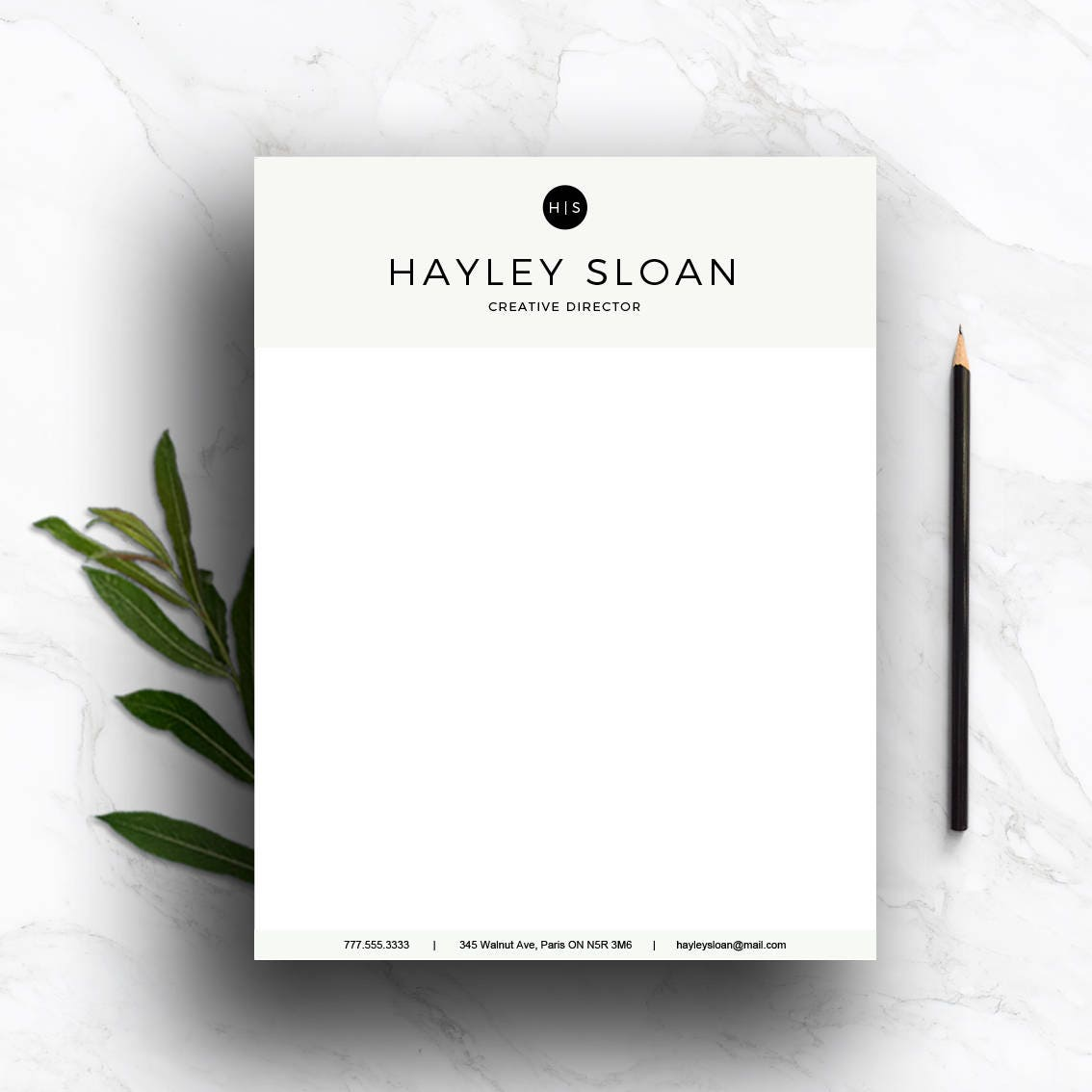 Stationary For Word U0026 Pages (A4 And US Letter) | Gray Personalized  Letterhead |