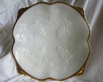 milk glass bowl, embossed grapes, gold edge, square, Anchor Hocking, footed bowl, serving, fruit bowl,