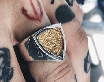 Gentleman's Oath + 24K gold - Handcrafted Sterling Silver Ring