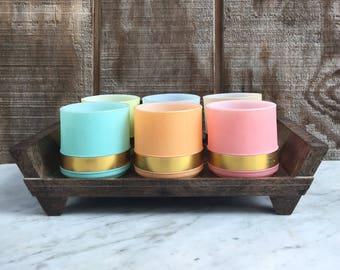 Siesta Ware Vintage Coffee Mug Set with Original Tray // 1950's // 6 Mugs // Milkglass Interior