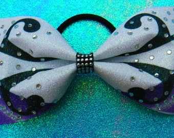 Tailless Cheer Bow Purple, Black and White Sublimated on Glitter with a Rhinestn Design