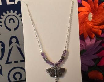 Silver butterfly and purple amatista necklace