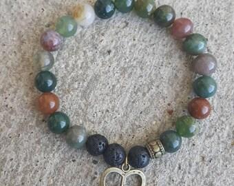 Essential oil diffuser bracelet. Aromatherapy jewelry. Natural gemstone diffuser bracelet. Bohemian. Yogi. Gift. Lava diffuser.  Gemstone.