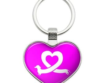 Dachshund Wiener Dog Love Heart Heart Love Metal Keychain Key Chain Ring