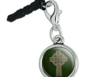 Celtic Christian Cross Irish Ireland Mobile Cell Phone Headphone Jack Anti-Dust Charm fits iPhone iPod Galaxy