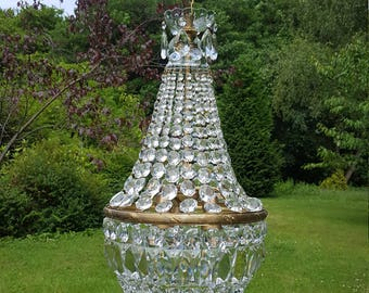 Extremely vintage French full cut bohemian large empire chandelier (G50)