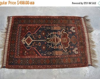 SALE 45% OFF 4'3 x 2'9 FT Antique Hand Knotted Baluch Prayer rug