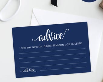 Wedding Advice Cards - Advice Cards - Advice Card Instant Download - Marriage Advice - Navy Wedding - Downloadable wedding #WDH878PL893