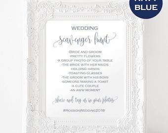 Wedding Scavenger Hunt Template - Printable Wedding Sign - Scavenger Hunt Printable  - Navy Wedding - Downloadable wedding #WDH878PL897