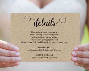 Wedding Details Card - Printable Details Card Template - Cards  Information - Simple Wedding - Downloadable wedding #WDH657DT1