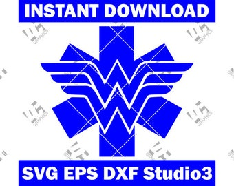 Wonder Woman EMS Star of Life - EMT Logo - Cutting File SVG, eps, dxf, and Studio3 - Cricut, Silhouette Cameo Studio- Instant Download
