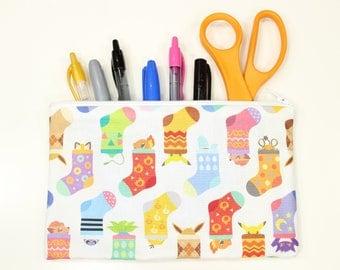 """Pokemon Fabric Pencil Pouch – 8"""" x 5"""" Pokemon Fabric Pencil Bag – Pokemon Fabric Make Up Bag – Christmas Pokemon Fabric Pencil Case"""