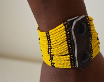 African Maasai beaded bracelet  | Multi color bracelet | Yellow bracelet | Press buttons fastening | Gift for Her