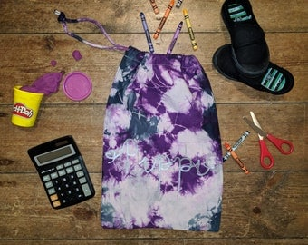 Personalised Drawstring Tie Dye Bag