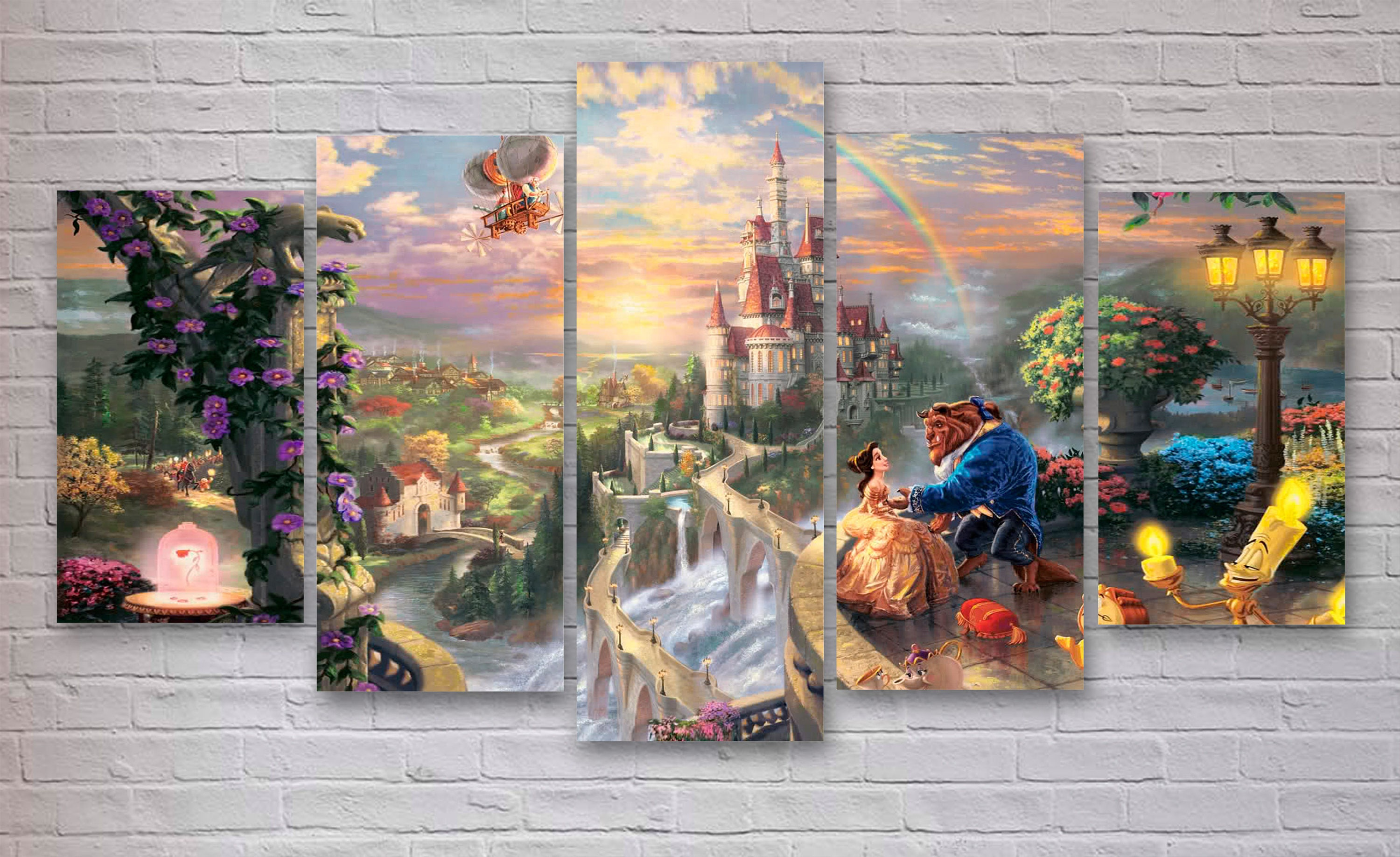 Beauty and the beast movie canvas disney world wall art for Disney world mural
