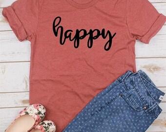 ON SALE Happy T-shirt/Happy Shirt/Happiness T-shirt/Happy T-shirt/Happiness Shirt