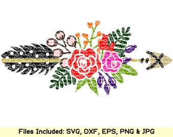 Floral svg files for Cricut Silhouette, boho flower tribal arrow feather svg clipart welcome wedding monogram svg design sign dxf cut files