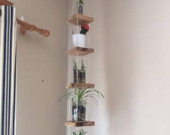 Handmade oak wood plant hanger 5 tablets ceiling hang