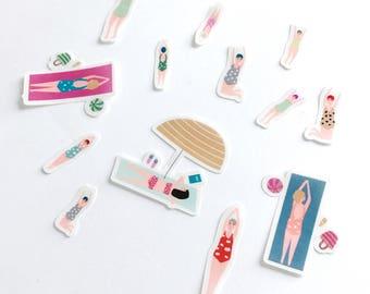 Beach girls, transparent stickers