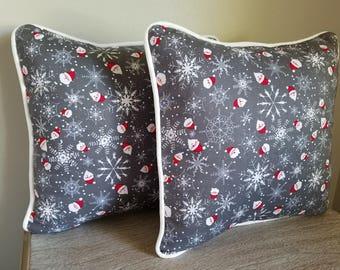 Christmas Decorative Throw Pillows w/ white Piping, Accent pillow, Decorative Pillow Cover, Toss Pillow, Bedroom Decor, Sofa Pillows. 16x16