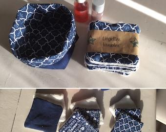 Lingettes demaquillantes lavables vendues dans un panier tissu - lot de 9 lingettes