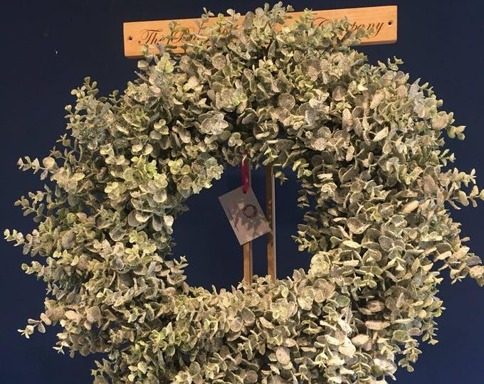 Beautiful snowy eucalyptus glitter door wreath