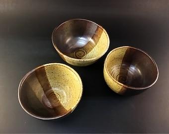 Set of three ceramic bowls