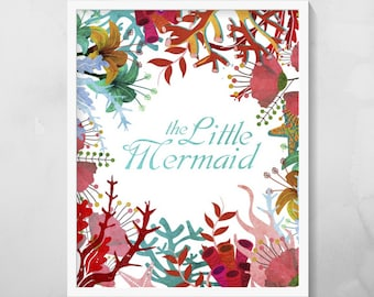 The Little Mermaid Sea Print, Instant Digital Downloads, 8x10 inches, Printable Wall Art