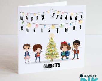 Stranger Things Christmas Card - Happy Strange Christmas - Personalised Stranger Things Christmas Card