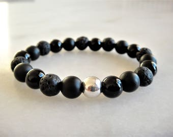 Bracelet made with sterling silver, black onyx and lava stone beads / Bracelet for women bracelet for men genuine stone bracelet black stone