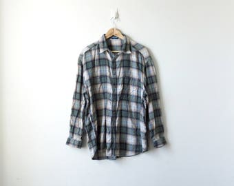 90s Beige & Green Flannel Shirt - Guess Jeans 90s Flannel Shirt Vintage Flannel - 90s Skater Clothing - 90s Hip Hop clothing - Women's L