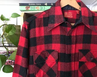 Vintage 60s/70s Buffalo Plaid Flannel Shirt by Kings Road Size Large UmuRcf